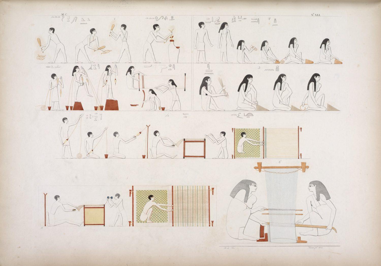 Preparazione dei fili, filatura, telai e tessitura nell'Antico Egitto. (fonte: The New York Public Library)